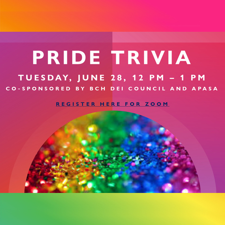 Pride Trivia: Tuesday, 6/29, 12:00 to 1:00pm; Test your knowledge of LGBTQ culture, film/TV, music, and more!