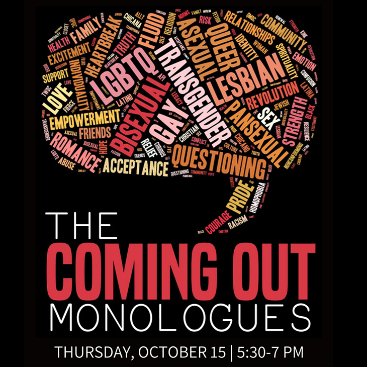 The Coming Out Monologues, Thursday,October 15 | 5:30 - 7 PM