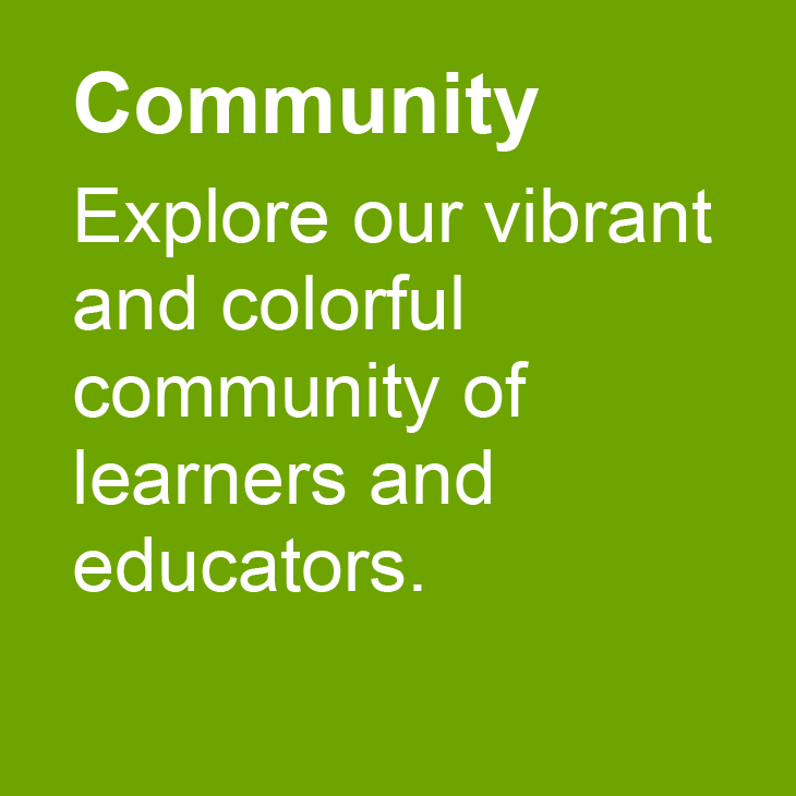 Community: Explore our vibrant and colorful community of learners and educators.