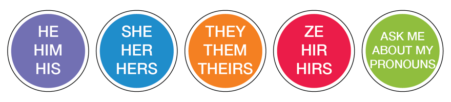 Five circular stickers: He, Him, His (purple); She, Her, Hers (blue); They, Them, Theirs (orange); Ask me about my pronouns (green)