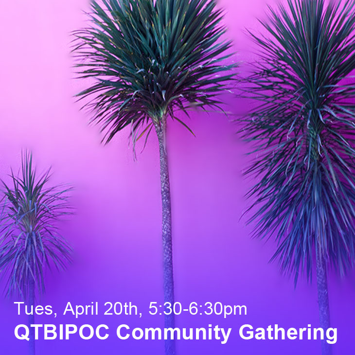 QTBIPOC Community Gathering: Tues, April 20th, 5:30-6:30pm